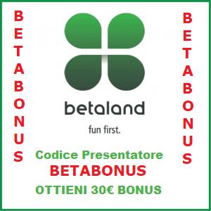 codice bonus betaland