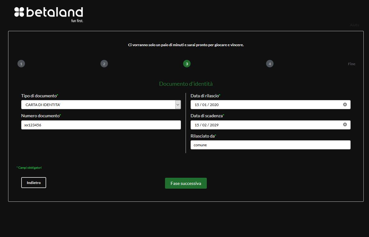 codice presentatore betaland