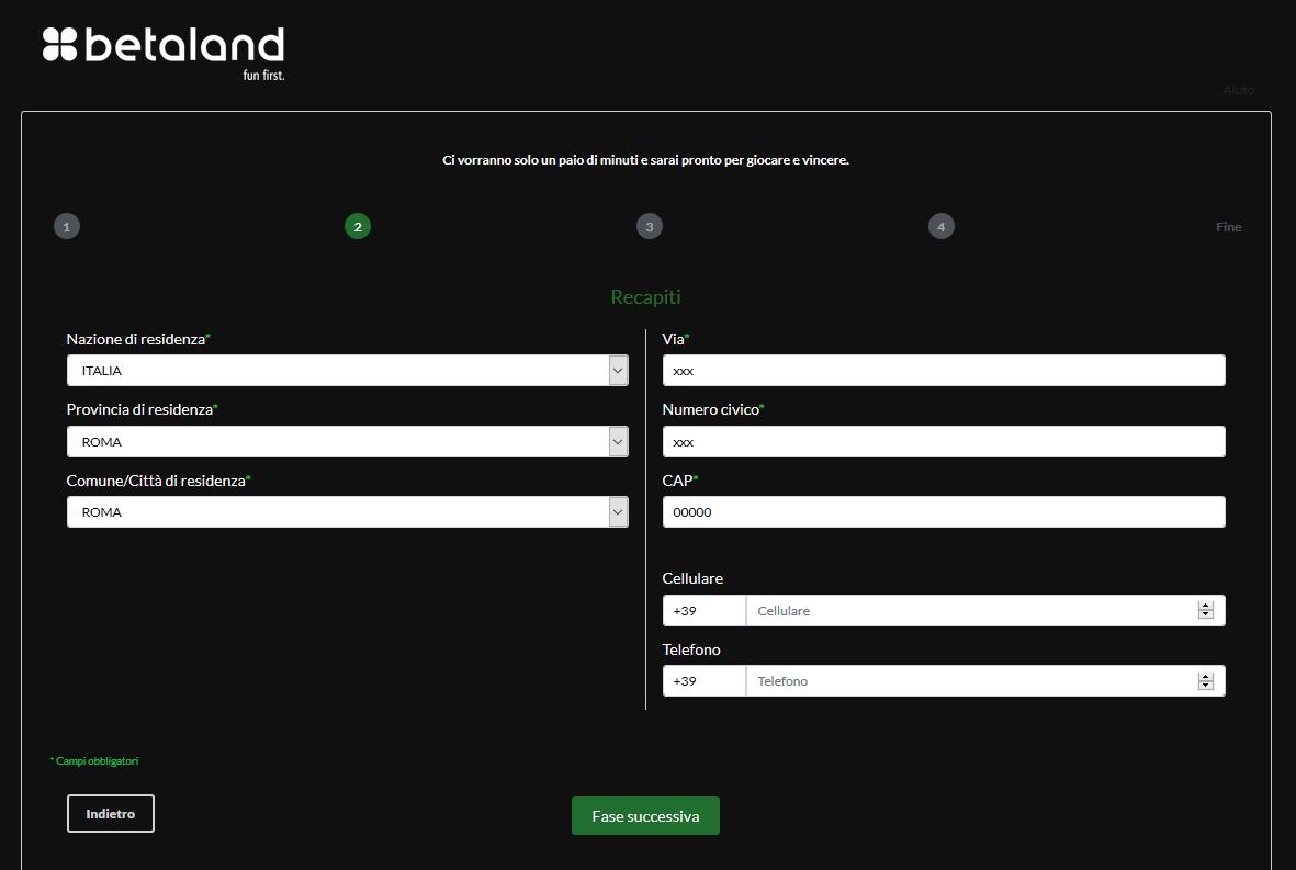 betaland nuovo sito
