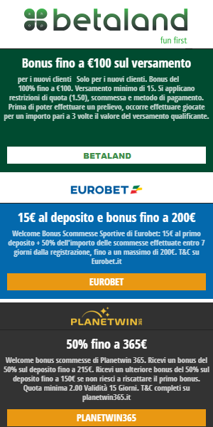 bonus benvenuto betaland planetwin eurobet